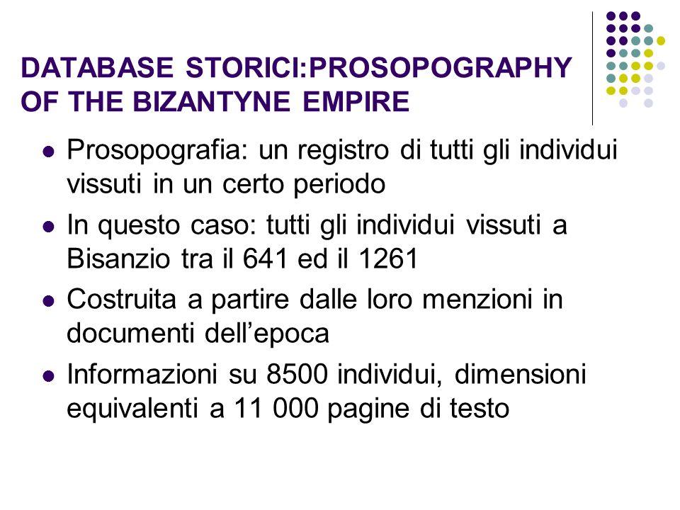 DATABASE STORICI:PROSOPOGRAPHY OF THE BIZANTYNE EMPIRE Prosopografia: un registro di tutti gli individui vissuti in un certo periodo In questo caso: t