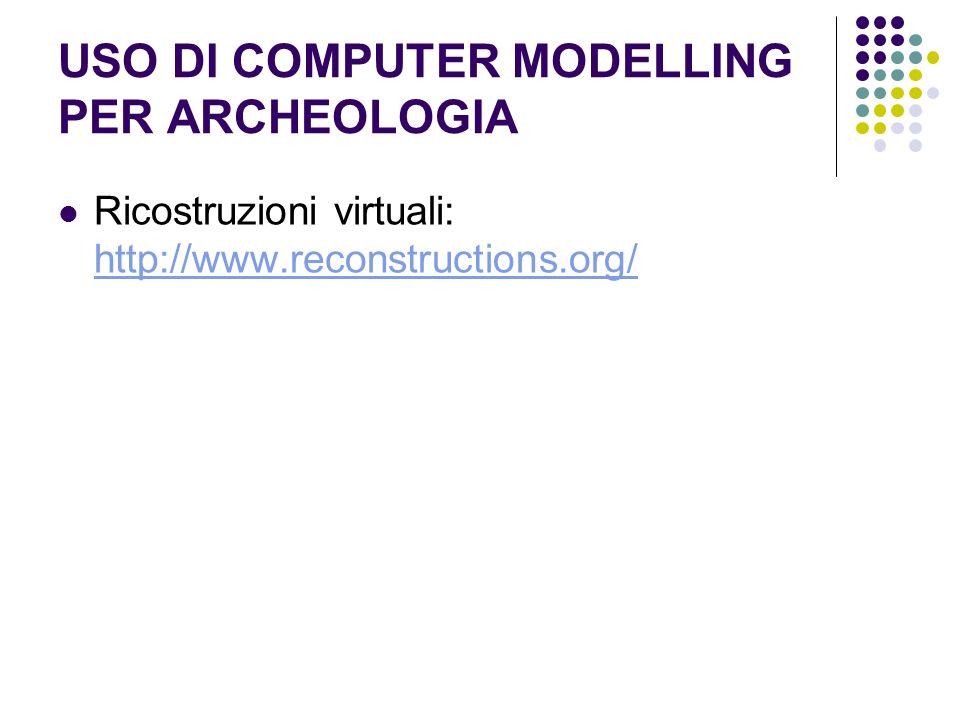 USO DI COMPUTER MODELLING PER ARCHEOLOGIA Ricostruzioni virtuali: http://www.reconstructions.org/ http://www.reconstructions.org/