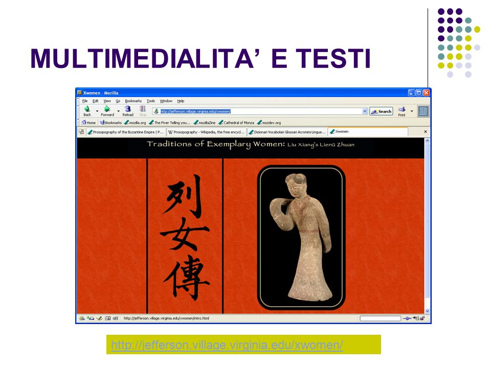MULTIMEDIALITA E TESTI http://jefferson.village.virginia.edu/xwomen/