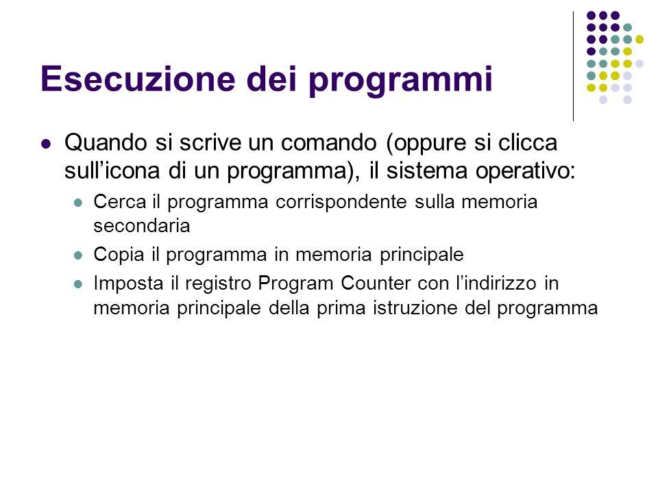 Esecuzione dei programmi Quando si scrive un comando (oppure si clicca sullicona di un programma), il sistema operativo: Cerca il programma corrispondente sulla memoria secondaria Copia il programma in memoria principale Imposta il registro Program Counter con lindirizzo in memoria principale della prima istruzione del programma