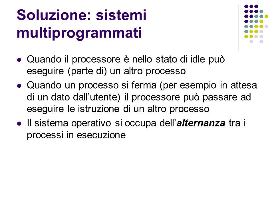 Soluzione: sistemi multiprogrammati Quando il processore è nello stato di idle può eseguire (parte di) un altro processo Quando un processo si ferma (per esempio in attesa di un dato dallutente) il processore può passare ad eseguire le istruzione di un altro processo Il sistema operativo si occupa dellalternanza tra i processi in esecuzione