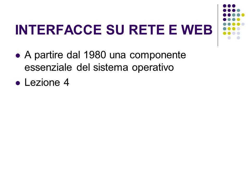 INTERFACCE SU RETE E WEB A partire dal 1980 una componente essenziale del sistema operativo Lezione 4