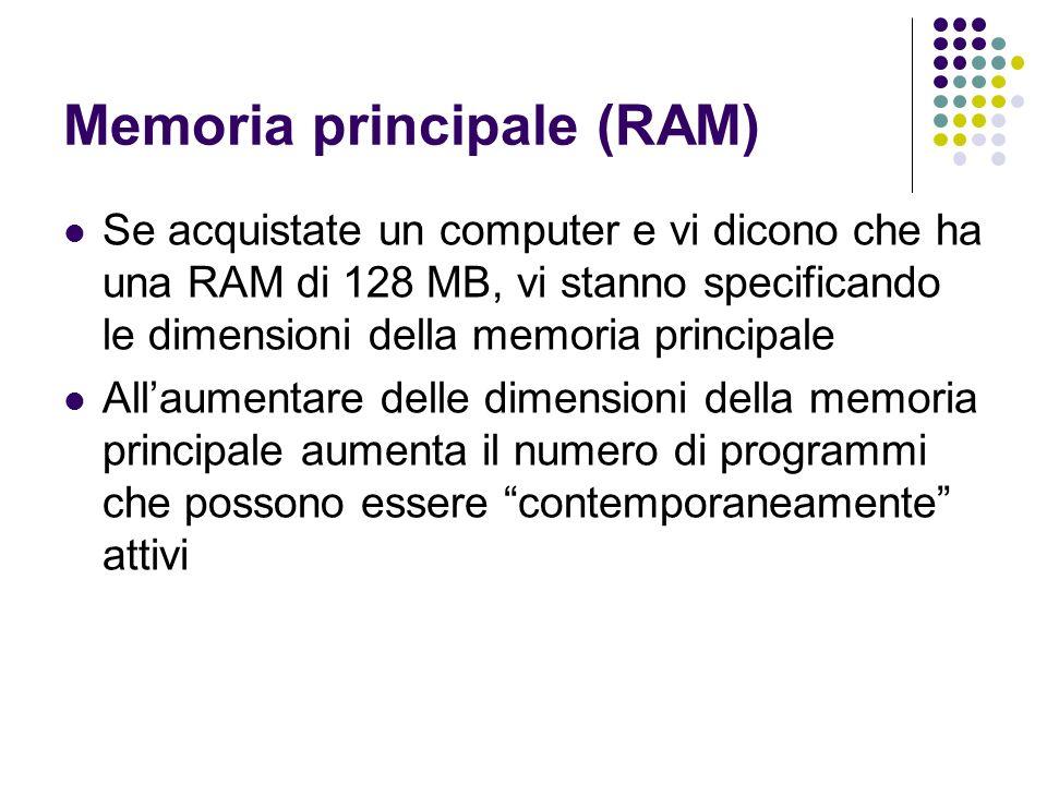 Memoria principale (RAM) Se acquistate un computer e vi dicono che ha una RAM di 128 MB, vi stanno specificando le dimensioni della memoria principale Allaumentare delle dimensioni della memoria principale aumenta il numero di programmi che possono essere contemporaneamente attivi