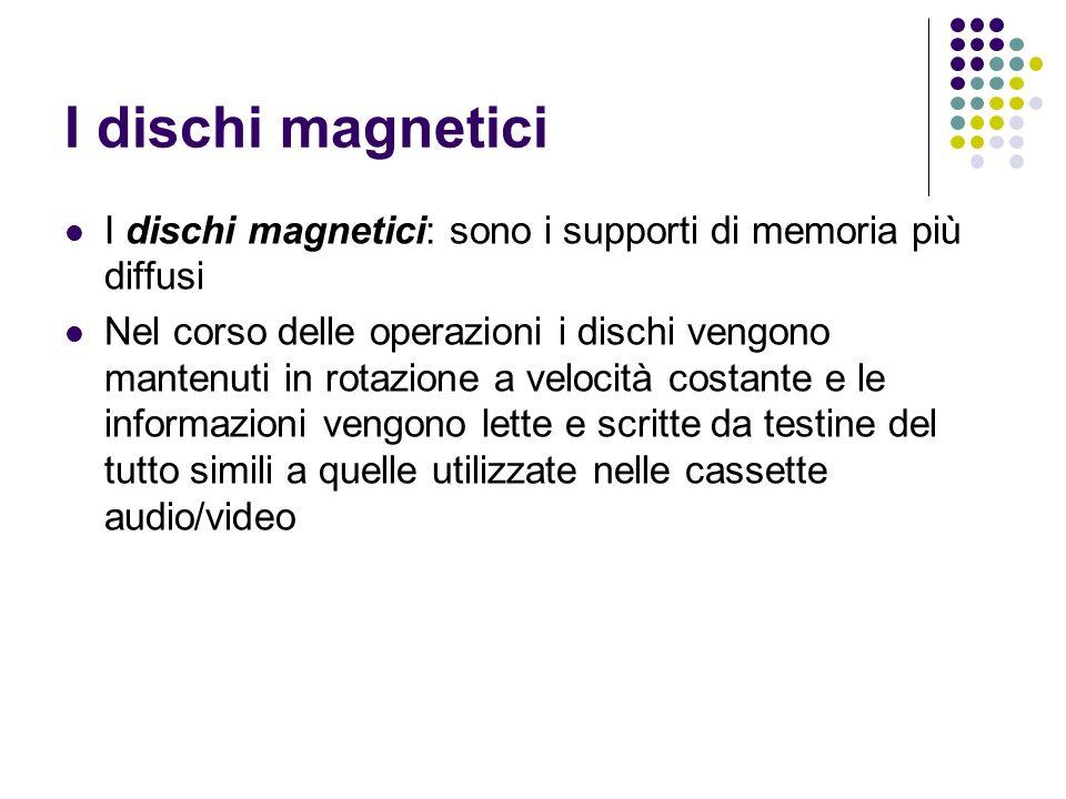 I dischi magnetici I dischi magnetici: sono i supporti di memoria più diffusi Nel corso delle operazioni i dischi vengono mantenuti in rotazione a velocità costante e le informazioni vengono lette e scritte da testine del tutto simili a quelle utilizzate nelle cassette audio/video