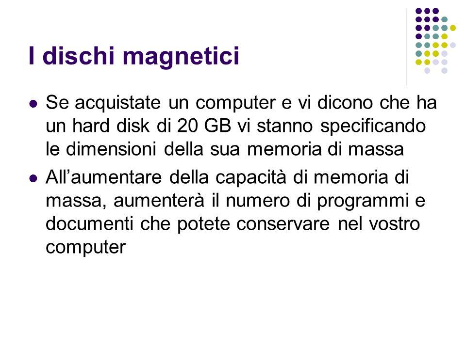I dischi magnetici Se acquistate un computer e vi dicono che ha un hard disk di 20 GB vi stanno specificando le dimensioni della sua memoria di massa Allaumentare della capacità di memoria di massa, aumenterà il numero di programmi e documenti che potete conservare nel vostro computer