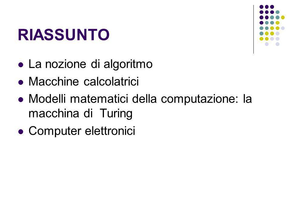 RIASSUNTO La nozione di algoritmo Macchine calcolatrici Modelli matematici della computazione: la macchina di Turing Computer elettronici