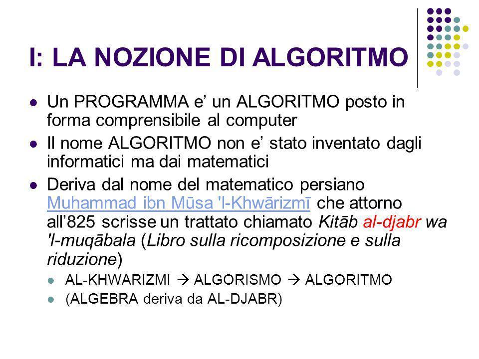 I: LA NOZIONE DI ALGORITMO Un PROGRAMMA e un ALGORITMO posto in forma comprensibile al computer Il nome ALGORITMO non e stato inventato dagli informat