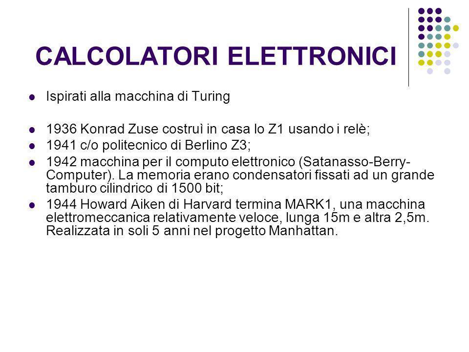 CALCOLATORI ELETTRONICI Ispirati alla macchina di Turing 1936 Konrad Zuse costruì in casa lo Z1 usando i relè; 1941 c/o politecnico di Berlino Z3; 194