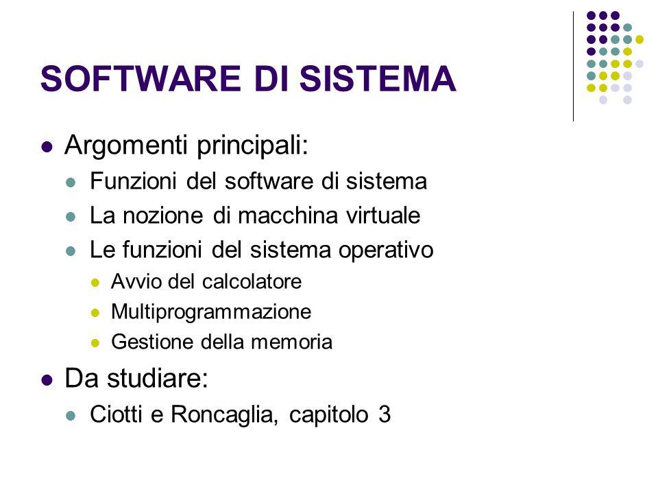 SOFTWARE DI SISTEMA Argomenti principali: Funzioni del software di sistema La nozione di macchina virtuale Le funzioni del sistema operativo Avvio del