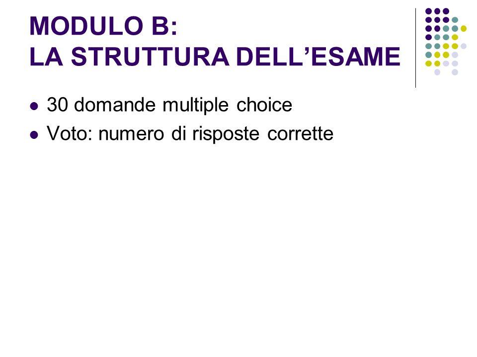 MODULO B: LA STRUTTURA DELLESAME 30 domande multiple choice Voto: numero di risposte corrette
