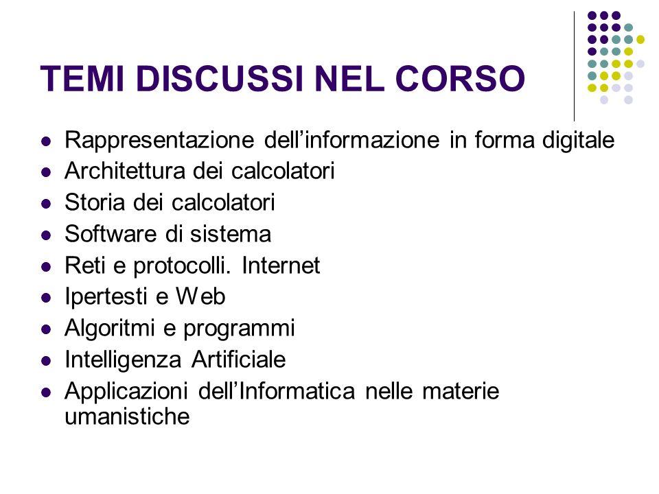 TEMI DISCUSSI NEL CORSO Rappresentazione dellinformazione in forma digitale Architettura dei calcolatori Storia dei calcolatori Software di sistema Re
