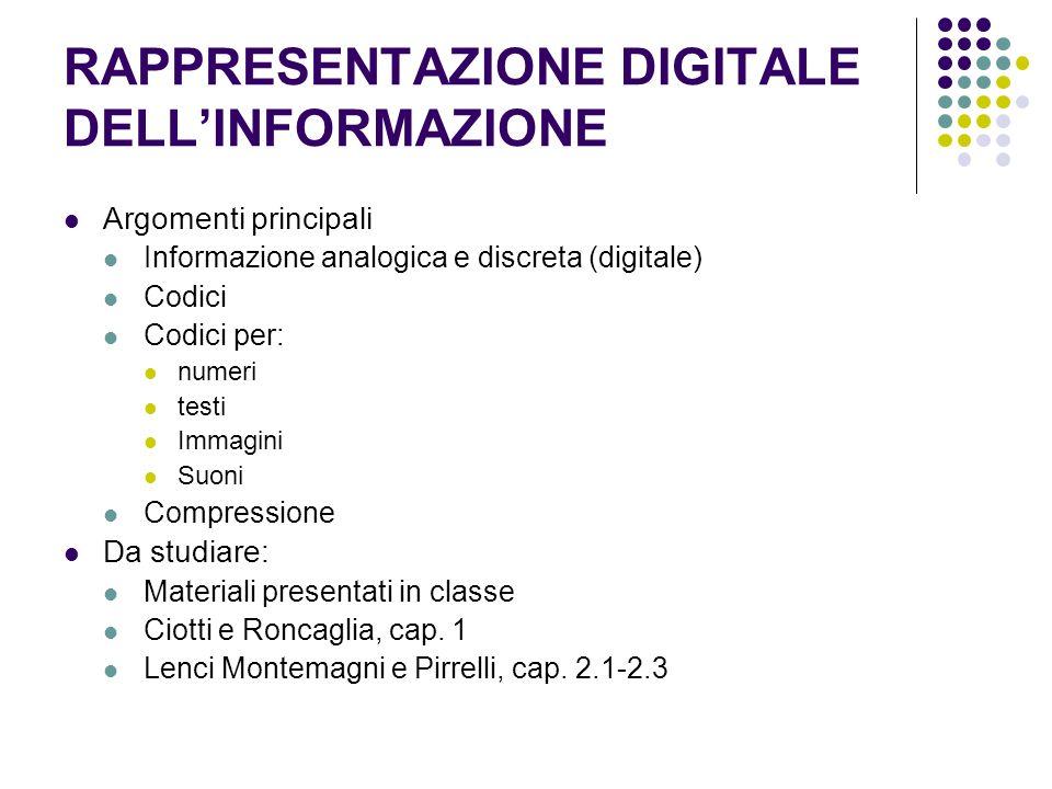 RAPPRESENTAZIONE DIGITALE DELLINFORMAZIONE Argomenti principali Informazione analogica e discreta (digitale) Codici Codici per: numeri testi Immagini