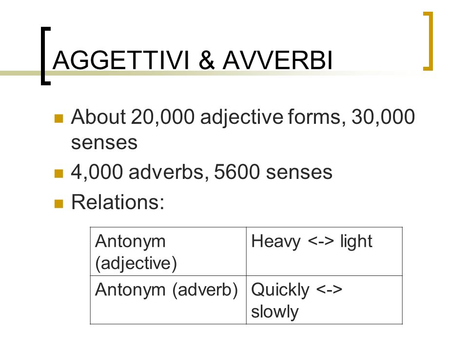 AGGETTIVI & AVVERBI About 20,000 adjective forms, 30,000 senses 4,000 adverbs, 5600 senses Relations: Antonym (adjective) Heavy light Antonym (adverb)