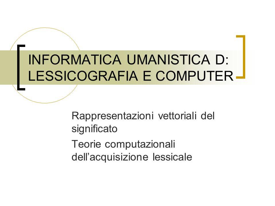 INFORMATICA UMANISTICA D: LESSICOGRAFIA E COMPUTER Rappresentazioni vettoriali del significato Teorie computazionali dellacquisizione lessicale