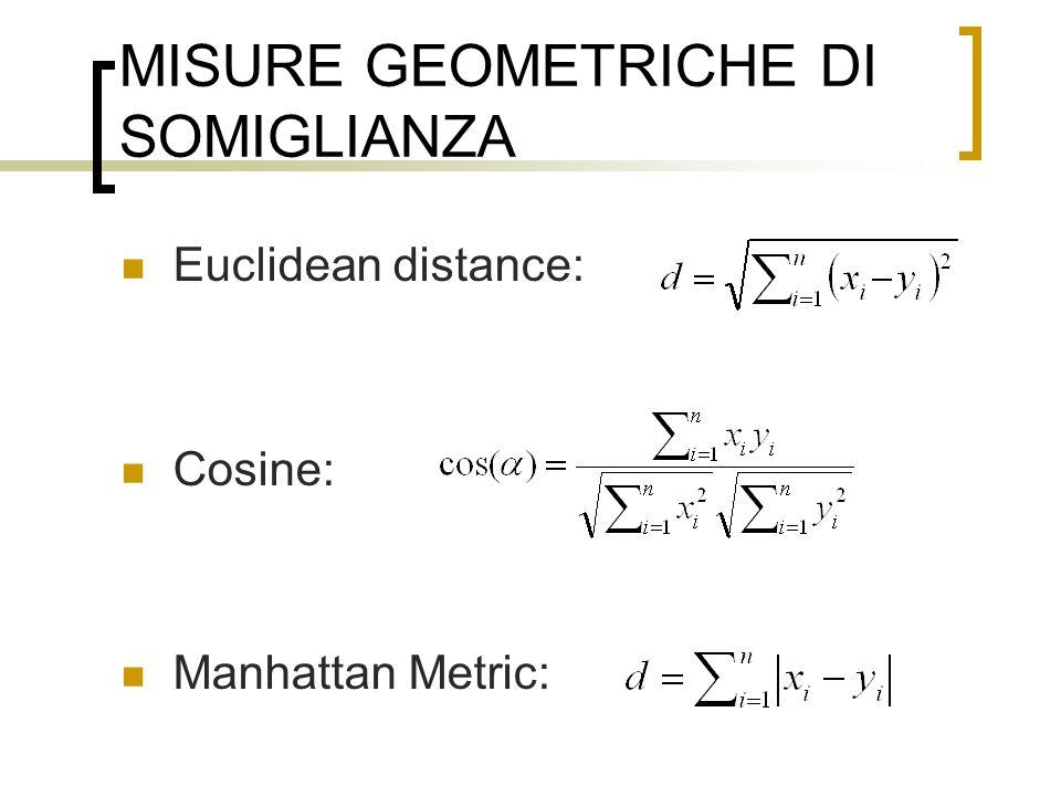 MISURE GEOMETRICHE DI SOMIGLIANZA Euclidean distance: Cosine: Manhattan Metric: