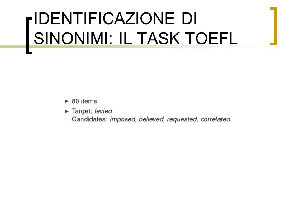 IDENTIFICAZIONE DI SINONIMI: IL TASK TOEFL