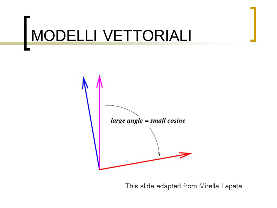MODELLI VETTORIALI This slide adapted from Mirella Lapata