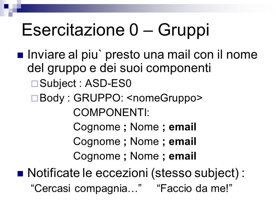 Esercitazione 0 – Gruppi Inviare al piu` presto una mail con il nome del gruppo e dei suoi componenti Subject : ASD-ES0 Body : GRUPPO: COMPONENTI: Cog