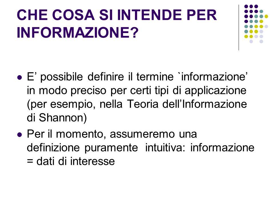 CHE COSA SI INTENDE PER INFORMAZIONE? E possibile definire il termine `informazione in modo preciso per certi tipi di applicazione (per esempio, nella