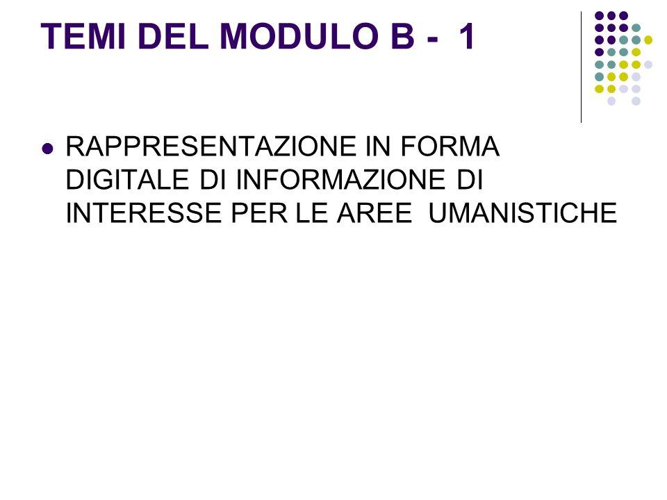 TEMI DEL MODULO B - 1 RAPPRESENTAZIONE IN FORMA DIGITALE DI INFORMAZIONE DI INTERESSE PER LE AREE UMANISTICHE