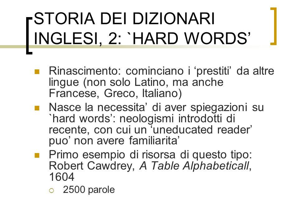 STORIA DEI DIZIONARI INGLESI, 2: `HARD WORDS Rinascimento: cominciano i prestiti da altre lingue (non solo Latino, ma anche Francese, Greco, Italiano)