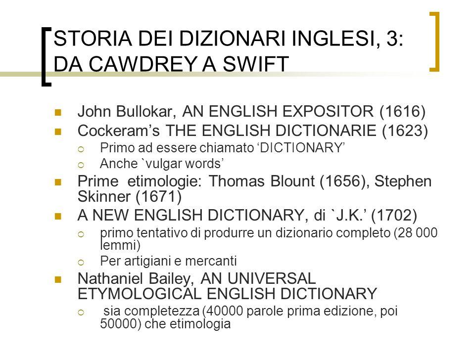 STORIA DEI DIZIONARI INGLESI, 3: DA CAWDREY A SWIFT John Bullokar, AN ENGLISH EXPOSITOR (1616) Cockerams THE ENGLISH DICTIONARIE (1623) Primo ad esser