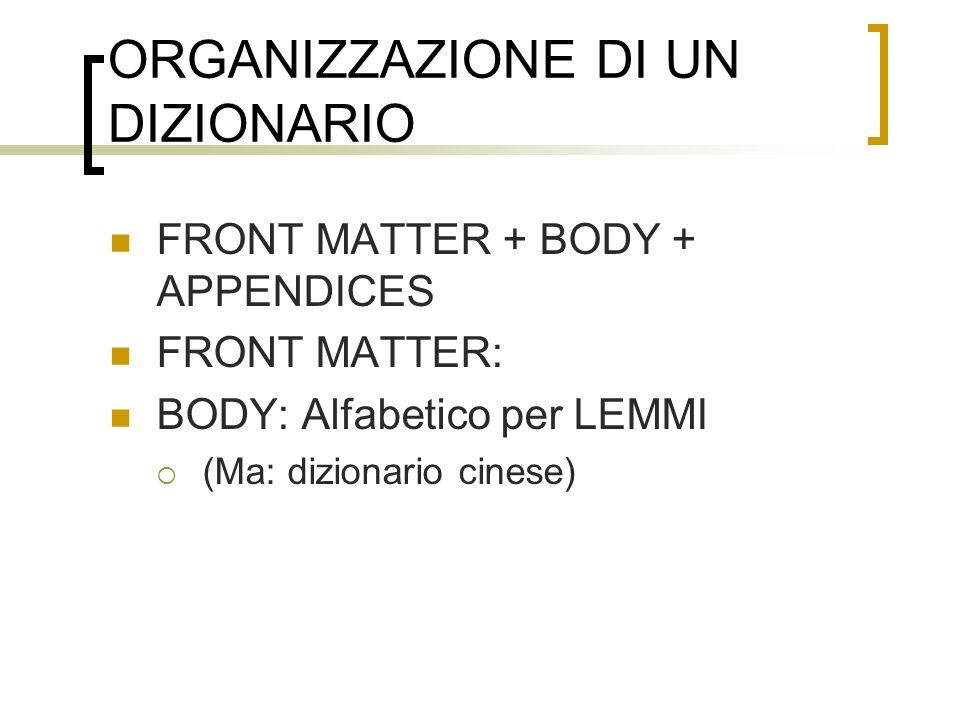 ORGANIZZAZIONE DI UN DIZIONARIO FRONT MATTER + BODY + APPENDICES FRONT MATTER: BODY: Alfabetico per LEMMI (Ma: dizionario cinese)