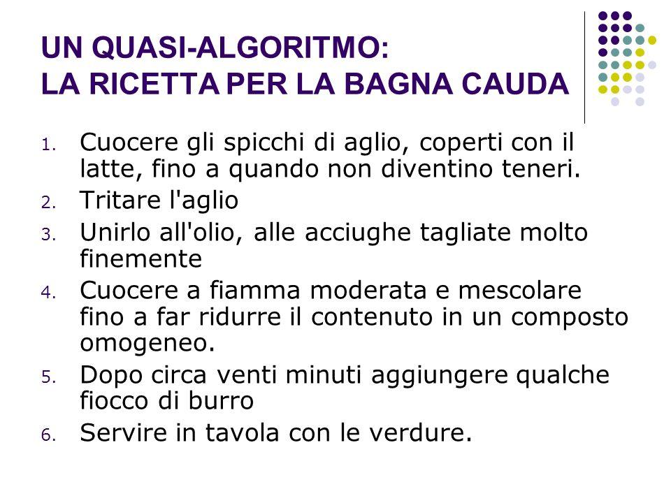 UN QUASI-ALGORITMO: LA RICETTA PER LA BAGNA CAUDA 1. Cuocere gli spicchi di aglio, coperti con il latte, fino a quando non diventino teneri. 2. Tritar
