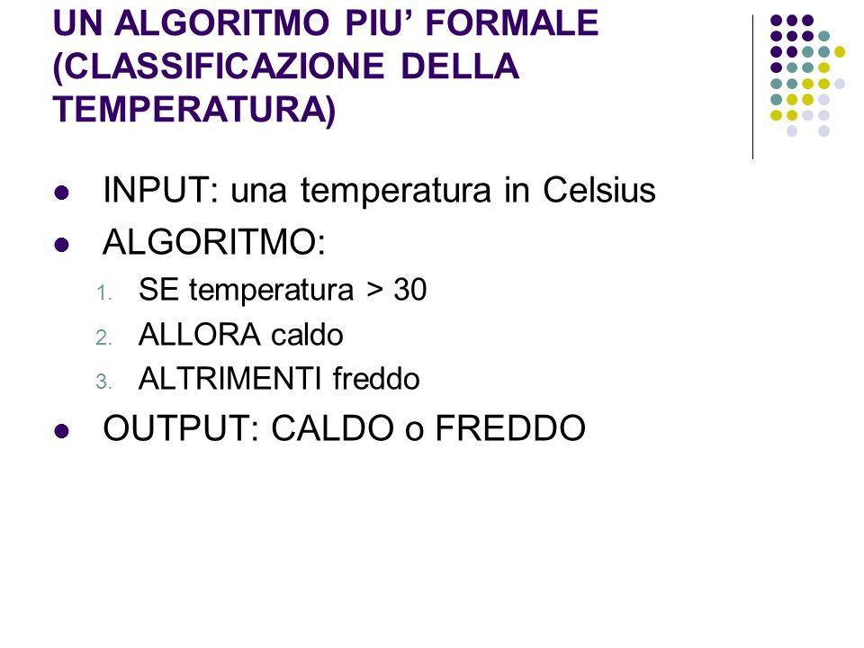UN ALGORITMO PIU FORMALE (CLASSIFICAZIONE DELLA TEMPERATURA) INPUT: una temperatura in Celsius ALGORITMO: 1. SE temperatura > 30 2. ALLORA caldo 3. AL