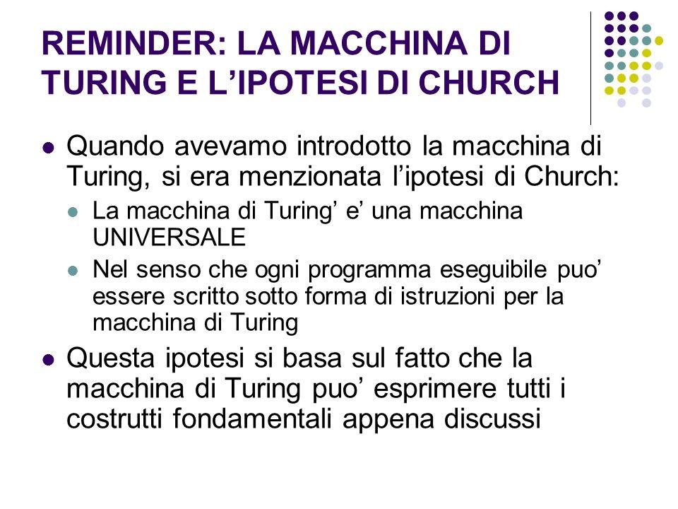 REMINDER: LA MACCHINA DI TURING E LIPOTESI DI CHURCH Quando avevamo introdotto la macchina di Turing, si era menzionata lipotesi di Church: La macchin