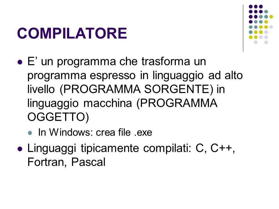 COMPILATORE E un programma che trasforma un programma espresso in linguaggio ad alto livello (PROGRAMMA SORGENTE) in linguaggio macchina (PROGRAMMA OG