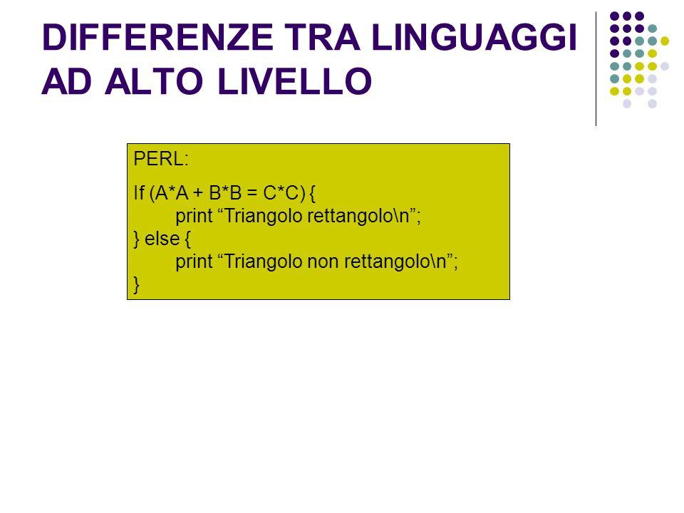 DIFFERENZE TRA LINGUAGGI AD ALTO LIVELLO PERL: If (A*A + B*B = C*C) { print Triangolo rettangolo\n; } else { print Triangolo non rettangolo\n; }