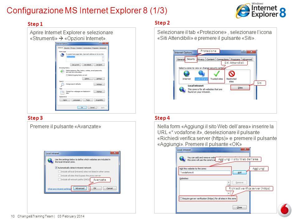 Change&Training Team | 03 February 201410 Configurazione MS Internet Explorer 8 (1/3) Aprire Internet Explorer e selezionare «Strumenti» «Opzioni Inte