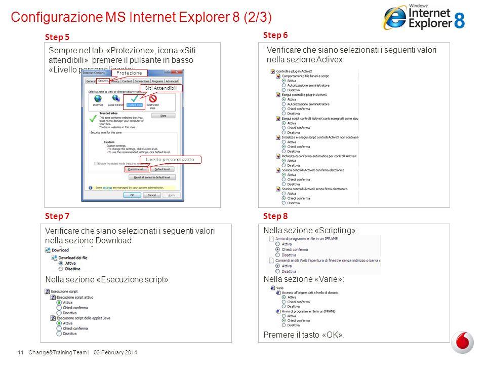 Change&Training Team | 03 February 201411 Configurazione MS Internet Explorer 8 (2/3) Sempre nel tab «Protezione», icona «Siti attendibili» premere il