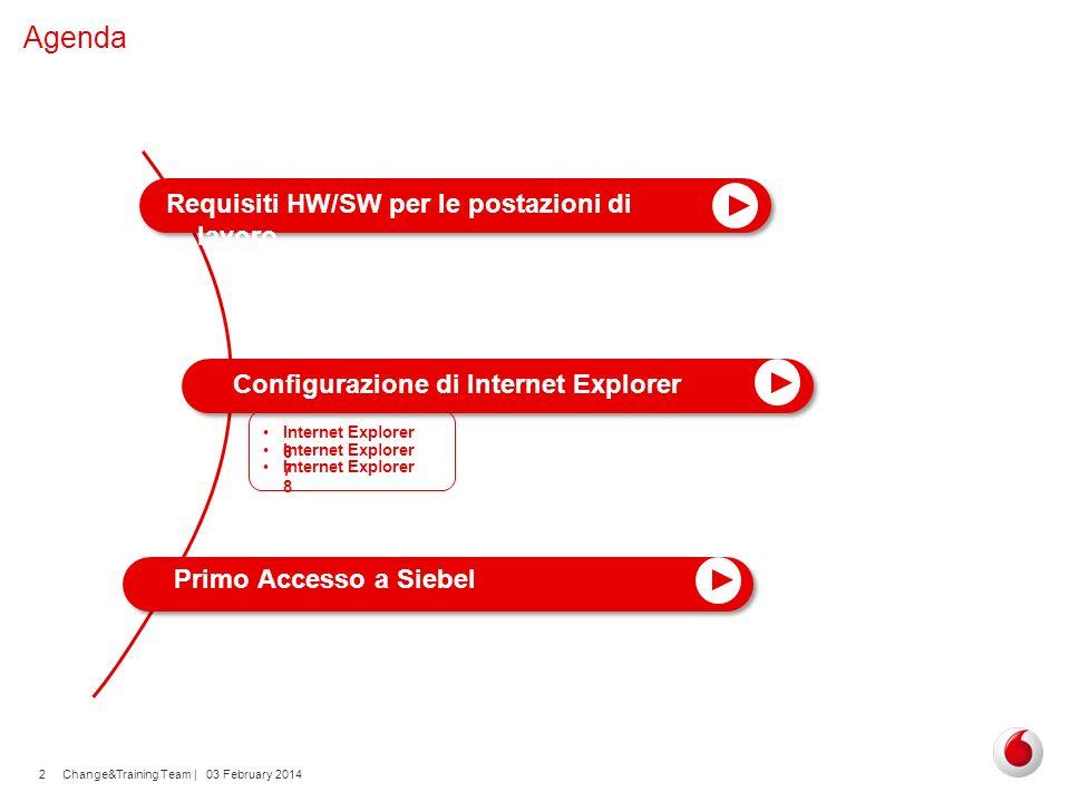 Change&Training Team | 03 February 20142 Agenda Configurazione di Internet Explorer Requisiti HW/SW per le postazioni di lavoro Primo Accesso a Siebel