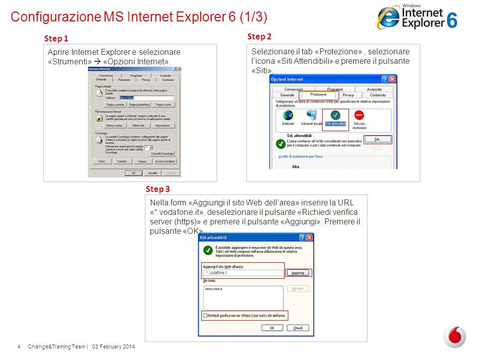 Change&Training Team | 03 February 20144 Configurazione MS Internet Explorer 6 (1/3) Aprire Internet Explorer e selezionare «Strumenti» «Opzioni Inter