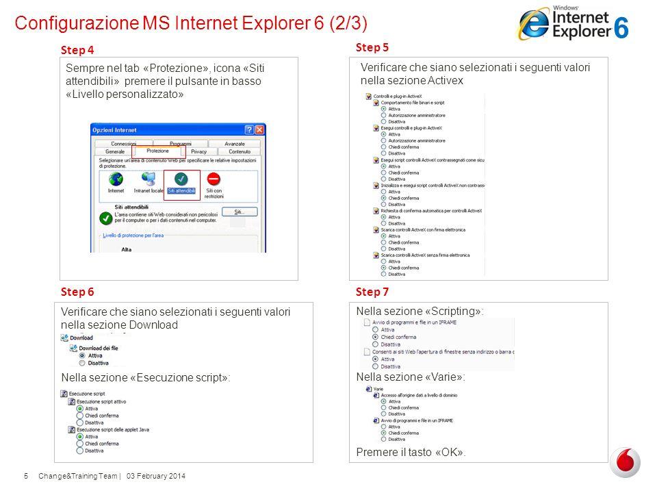 Change&Training Team | 03 February 20145 Configurazione MS Internet Explorer 6 (2/3) Sempre nel tab «Protezione», icona «Siti attendibili» premere il