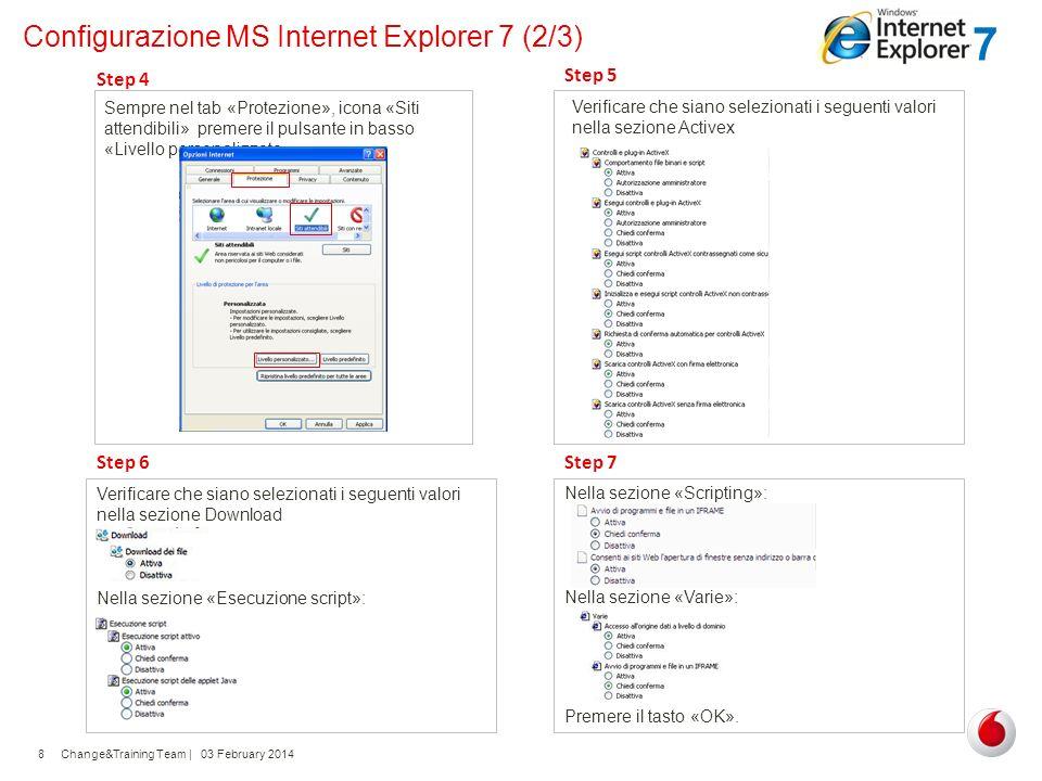 Change&Training Team | 03 February 20148 Configurazione MS Internet Explorer 7 (2/3) Sempre nel tab «Protezione», icona «Siti attendibili» premere il