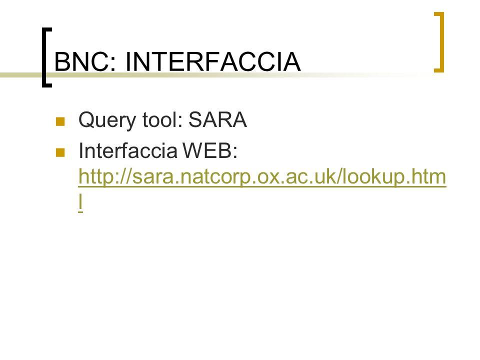 BNC: INTERFACCIA Query tool: SARA Interfaccia WEB: http://sara.natcorp.ox.ac.uk/lookup.htm l http://sara.natcorp.ox.ac.uk/lookup.htm l