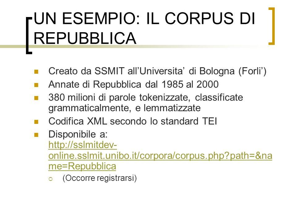 UN ESEMPIO: IL CORPUS DI REPUBBLICA Creato da SSMIT allUniversita di Bologna (Forli) Annate di Repubblica dal 1985 al 2000 380 milioni di parole token