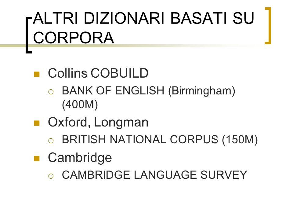 ALTRI DIZIONARI BASATI SU CORPORA Collins COBUILD BANK OF ENGLISH (Birmingham) (400M) Oxford, Longman BRITISH NATIONAL CORPUS (150M) Cambridge CAMBRID