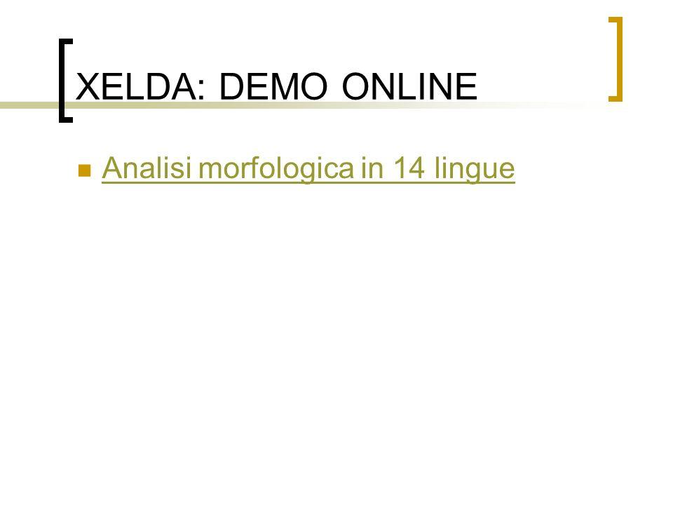 XELDA: DEMO ONLINE Analisi morfologica in 14 lingue