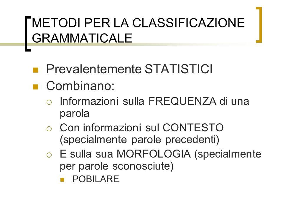 METODI PER LA CLASSIFICAZIONE GRAMMATICALE Prevalentemente STATISTICI Combinano: Informazioni sulla FREQUENZA di una parola Con informazioni sul CONTE