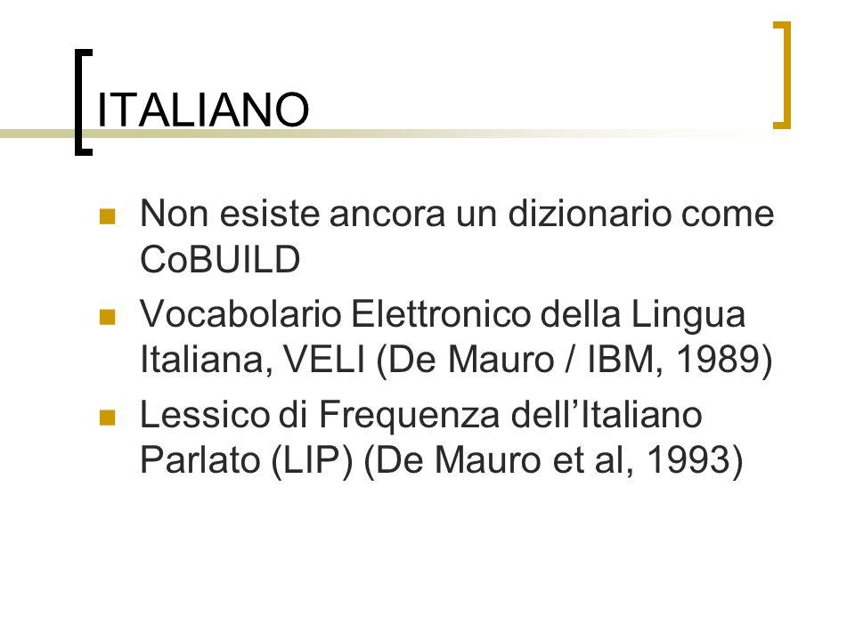 ITALIANO Non esiste ancora un dizionario come CoBUILD Vocabolario Elettronico della Lingua Italiana, VELI (De Mauro / IBM, 1989) Lessico di Frequenza
