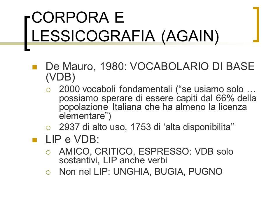 CORPORA E LESSICOGRAFIA (AGAIN) De Mauro, 1980: VOCABOLARIO DI BASE (VDB) 2000 vocaboli fondamentali (se usiamo solo … possiamo sperare di essere capi