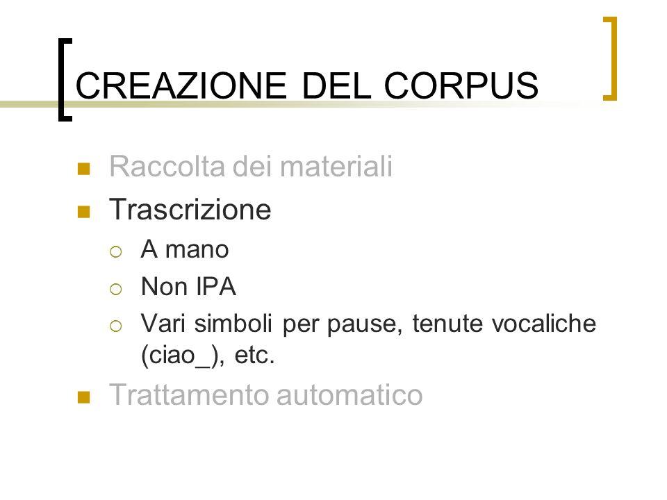 CREAZIONE DEL CORPUS Raccolta dei materiali Trascrizione A mano Non IPA Vari simboli per pause, tenute vocaliche (ciao_), etc. Trattamento automatico