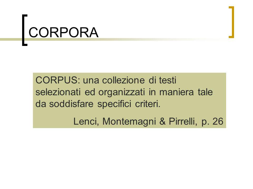 CORPORA CORPUS: una collezione di testi selezionati ed organizzati in maniera tale da soddisfare specifici criteri. Lenci, Montemagni & Pirrelli, p. 2