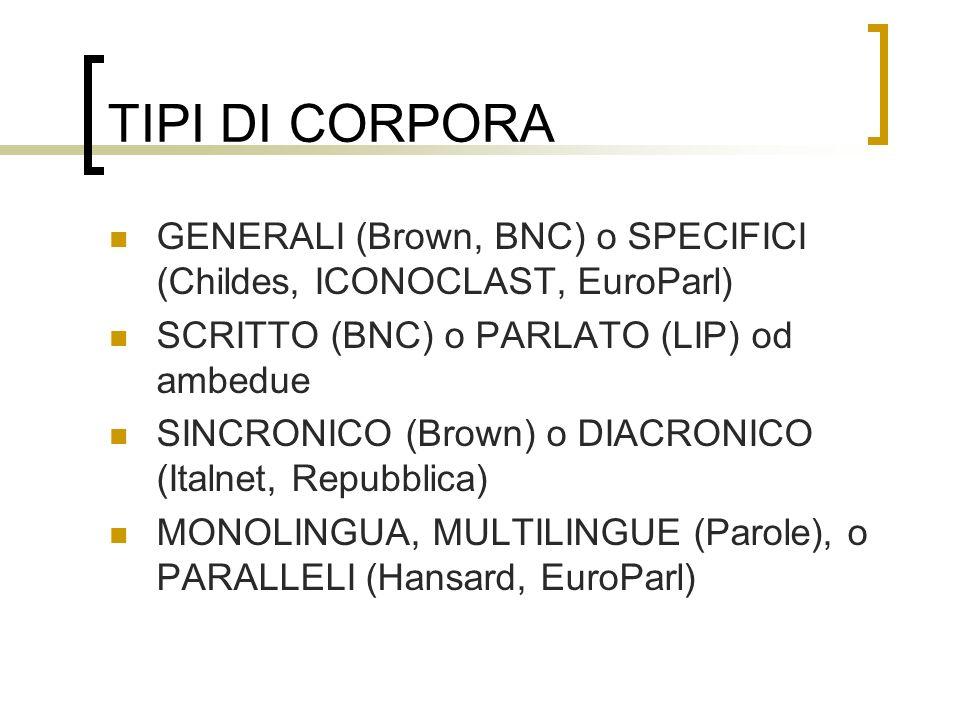 TIPI DI CORPORA GENERALI (Brown, BNC) o SPECIFICI (Childes, ICONOCLAST, EuroParl) SCRITTO (BNC) o PARLATO (LIP) od ambedue SINCRONICO (Brown) o DIACRO