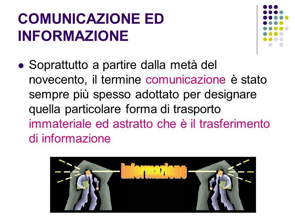 COMUNICAZIONE ED INFORMAZIONE Soprattutto a partire dalla metà del novecento, il termine comunicazione è stato sempre più spesso adottato per designar