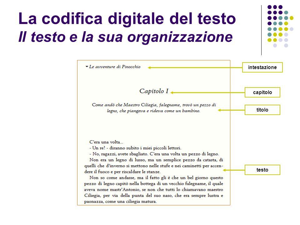 La codifica digitale del testo Il testo e la sua organizzazione titolo capitolo testo intestazione